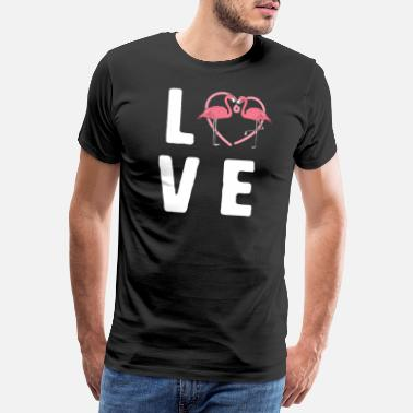 Pink LOVE Cute Pink Flamingo Summer Bird Lover Femmes - T-shirt premium Homme