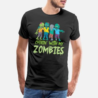Pirate Skull Halloween Chillin' With My Zombies Fright Night - Men's Premium T-Shirt