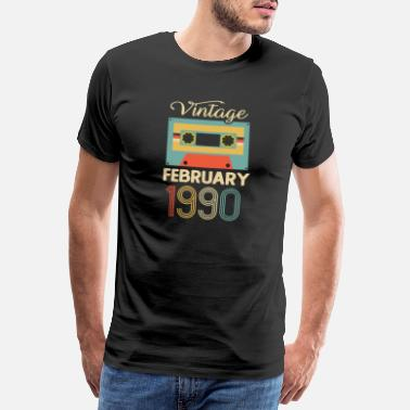 Born In February Vintage February 1990 30th Birthday 30 Year Gift - Men's Premium T-Shirt