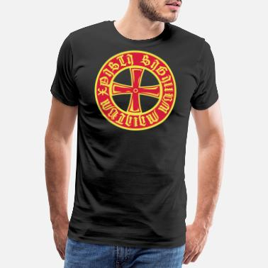 Tætne Templar Cross + stave på latin Gold Red 2c - Premium T-shirt mænd