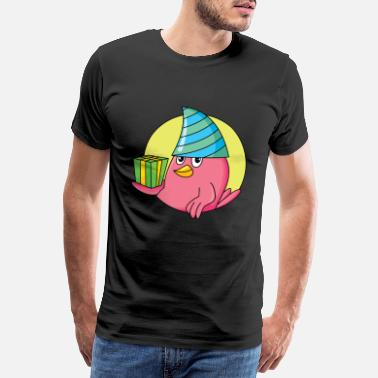 Goggley Eyes Bird shirt | Sweet with a party hat - Men's Premium T-Shirt