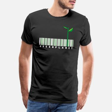 Blue Earth Green planet bar code white - Men's Premium T-Shirt