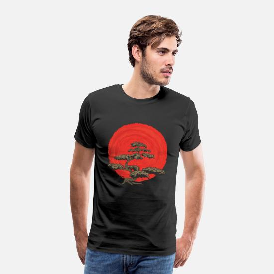 Japansk T-shirts - Bonsai Tree Enso Circle Buddhism Zen Design - Premium T-shirt mænd sort