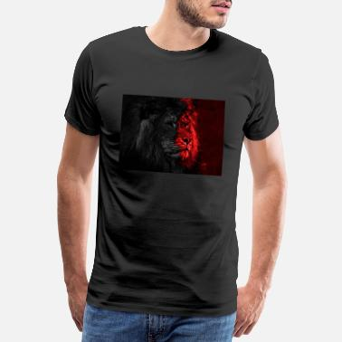 Upload Mondern-Art Lion Design kunstig rood / zwart - Mannen Premium T-shirt