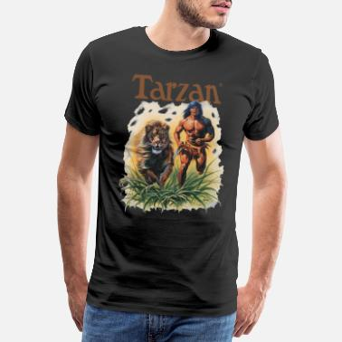 Tarzan Running Lion Through Wilderness - Men's Premium T-Shirt