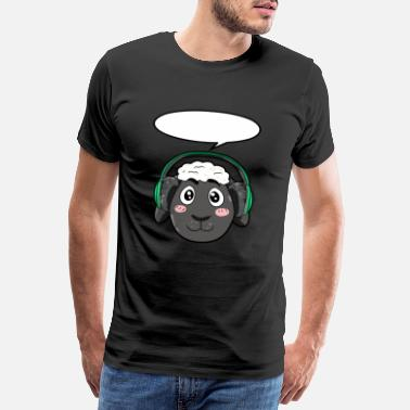 Speaker Sound Sheep with headphones - Men's Premium T-Shirt