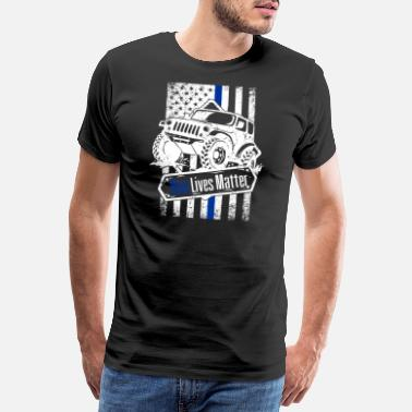 Cop Offroad Police Law Enforcement American Flag - Männer Premium T-Shirt