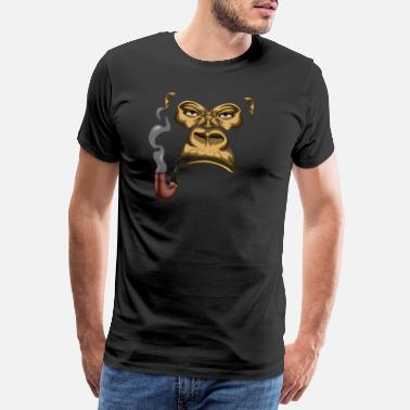 Orang Utan Smoking Gorilla | Smoking a pipe | Monkey | gift - Men's Premium T-Shirt