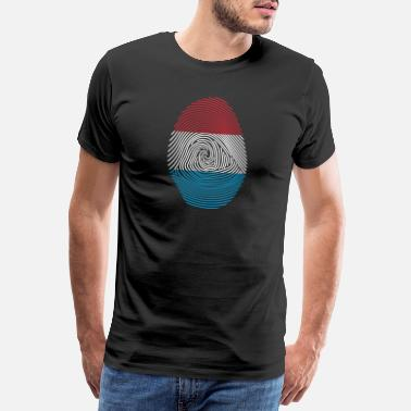 Finger Fingerprint Luxembourg Thumbprint DNA DNA Flag Gift - Men's Premium T-Shirt