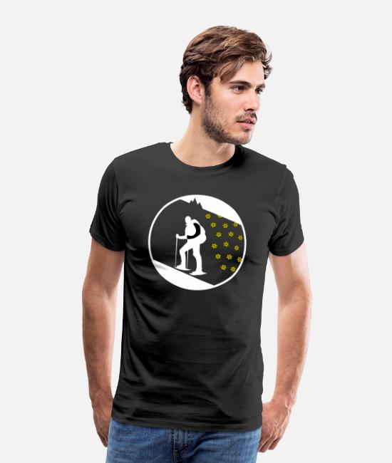 Snow T-Shirts - Hiking - hiking through the deep snow - Men's Premium T-Shirt black