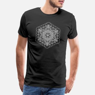 Alchemie Metatrons Cube Outline und Flower of Life White - Männer Premium T-Shirt