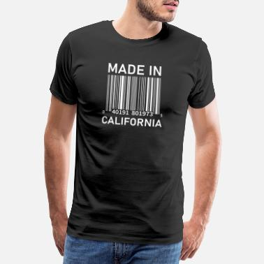 Made In Usa Made in California - Barcode (White Text) - Men's Premium T-Shirt