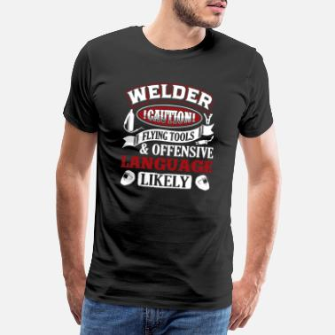 Caution Welder Caution Shirt - Premium T-skjorte for menn