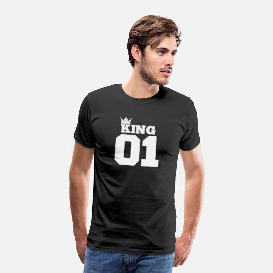 Batting Helmet T-Shirts - 01 KING in baseball, SPORT style with crown - Men's Premium T-Shirt black
