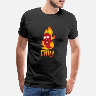 Pepper Varm flamme chili pepper - Premium T-skjorte for menn