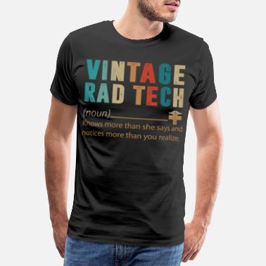 Technische Daten Vintage Rad Tech Knows More Than She Says T Shirt - Männer Premium T-Shirt