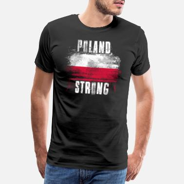 Person Poland Strong Distressed Graffiti Flag - Men's Premium T-Shirt