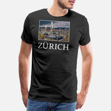 Hallucination Zurich city skyline Germany art - Men's Premium T-Shirt