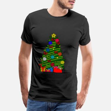 Spruce Christmas tree with gifts. Funny gift - Men's Premium T-Shirt