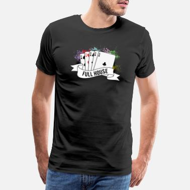 Full House Poker Full House Cards Poker Spel - Premium T-shirt herr
