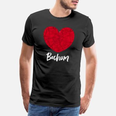 Ruhr City Bochum - City Map Map Map (Heart) - Men's Premium T-Shirt