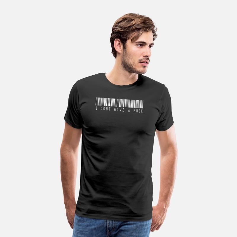Fuck Off T-Shirts - I do not give a fuck barcode white - Men's Premium T-Shirt black