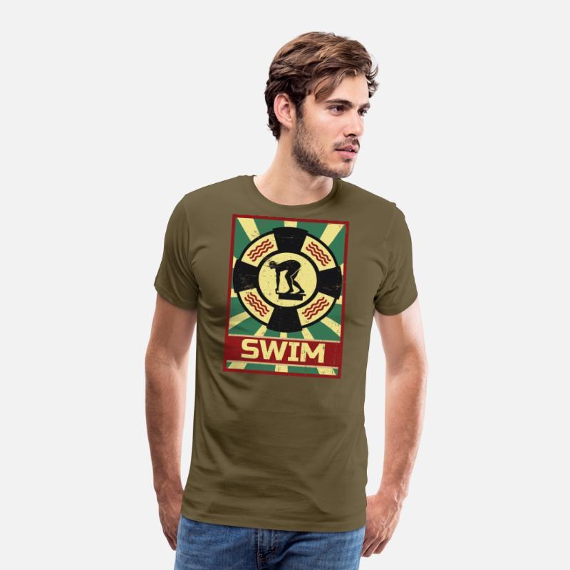 De Premium Propagande Homme Natation Kaki T Shirt 8nO0wXPk