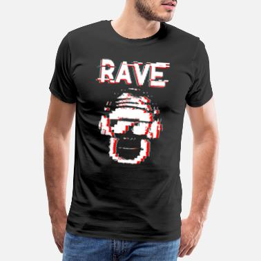 I Love Techno rave white distort - Men's Premium T-Shirt
