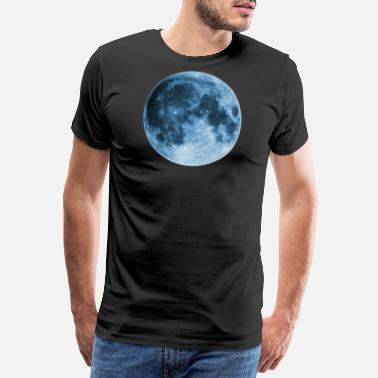 Blue Full Moon, magic, fantasy, night, wicca, space - Men's Premium T-Shirt
