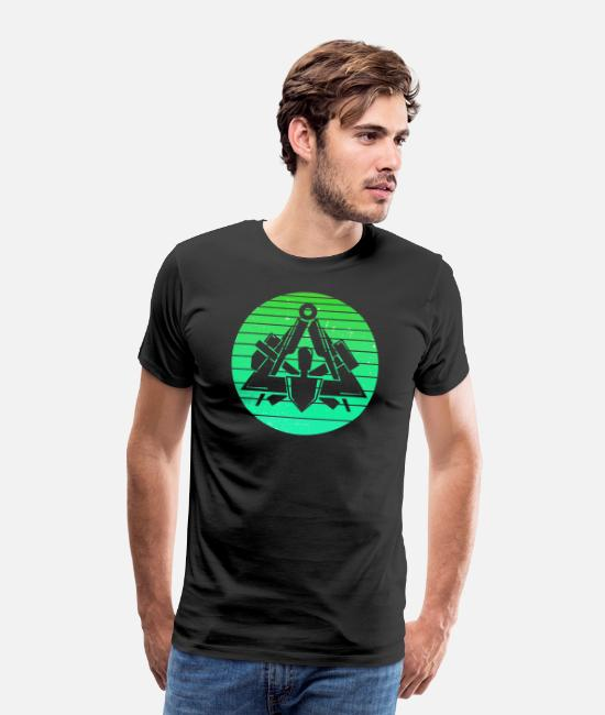 Triangle Of Signs Trowel Mortar T-Shirts - Retro vintage bricklayer artisan green - Men's Premium T-Shirt black