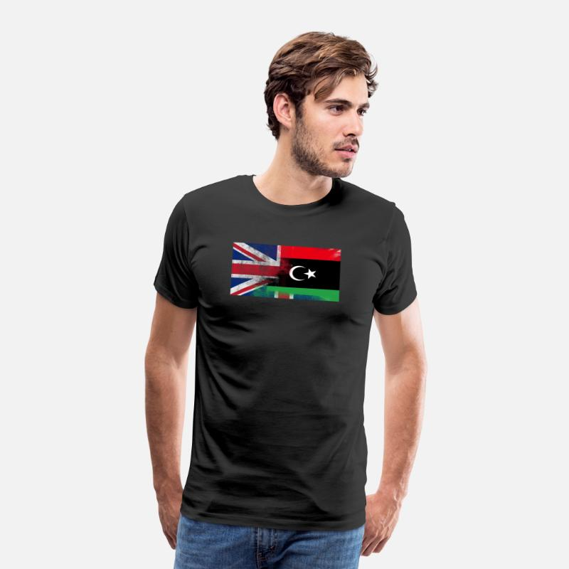 Libya Shirt T-Shirts - British Libyan Half Libya Half UK Flag - Men's Premium T-Shirt black