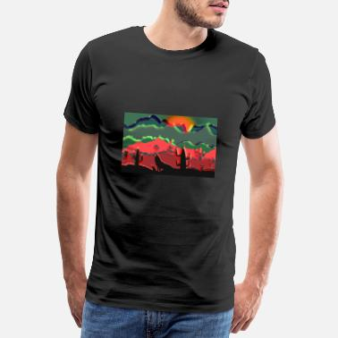 Full Moon Howling wolf, desert, cactus, landscape, abstract - Men's Premium T-Shirt