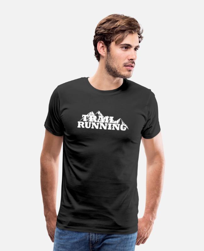 Nature T-Shirts - Trail Running Mountains Solid white - Männer Premium T-Shirt Schwarz