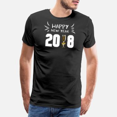 Prosecco HAPPY NEW YEAR 2018 with champagne glass white - Men's Premium T-Shirt