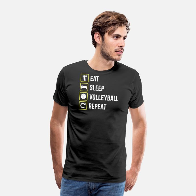 Spike T-Shirts - Eat Sleep Volleyball Repeat - Men's Premium T-Shirt black