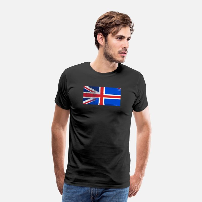 British T-Shirts - British Icelander Half Iceland Half UK Flag - Men's Premium T-Shirt black