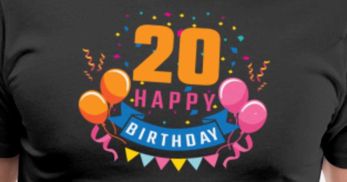 16e0f4316c1 20 år 20 år Grattis på födelsedagen gåva Premium T-shirt herr | Spreadshirt