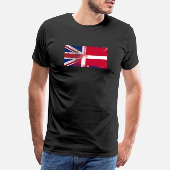 British Dansk Danmark Half Half UK Flag Premium T shirt mænd