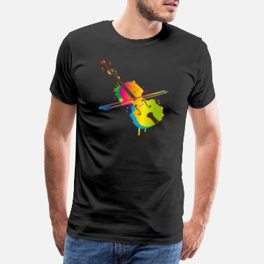 Gypsy hand drawn violin in rainbow colors - Men's Premium T-Shirt