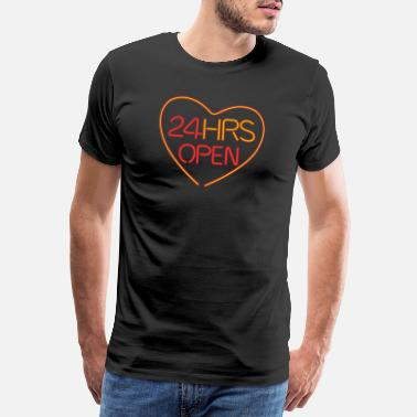 Aanbidding neon: 24 hrs open heart - Mannen premium T-shirt