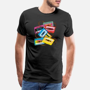 Funky colorful 80s music cassettes with band salad - Men's Premium T-Shirt