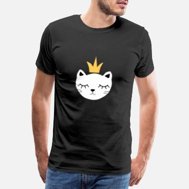 White cat with crown - Men's Premium T-Shirt