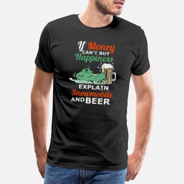 Snowboard Snowmobile And Beer Winter Snowmobiler - Men's Premium T-Shirt