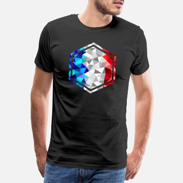 Lyon France hexagon with low poly frame - Men's Premium T-Shirt