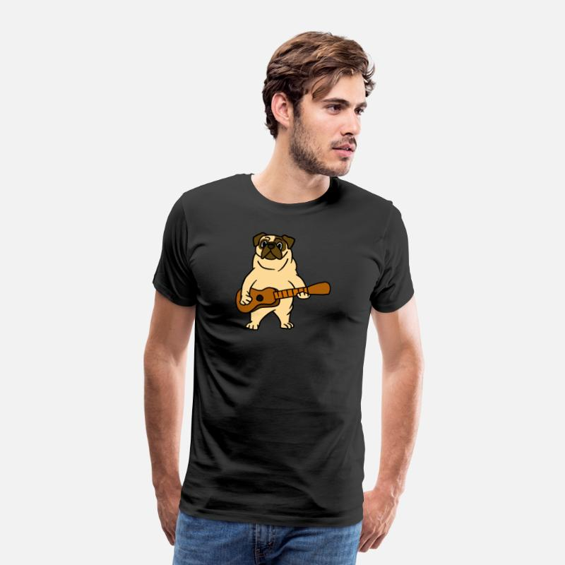 Playing T-Shirts - Pug Dog Playing Guitar Guitarist Cartoon Animal - Men's Premium T-Shirt black