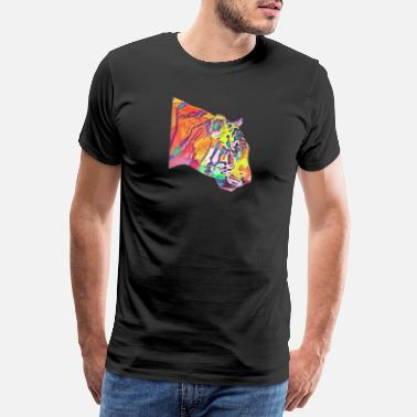 Tiger Head Tiger colorful - Men's Premium T-Shirt