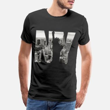 Stars And Stripes NY Statue Image Design - T-shirt Premium Homme