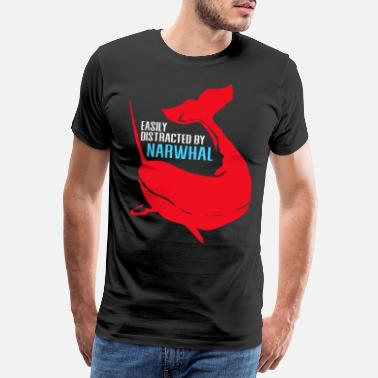 Distracted Narwhal Gift Unicorn Kawaii Whales Diving - Men's Premium T-Shirt
