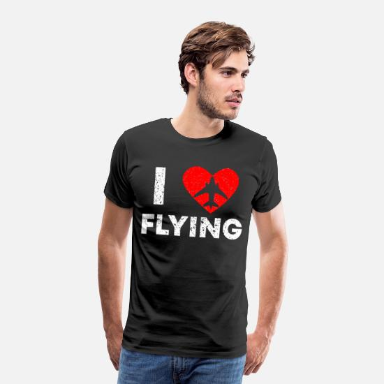 Travel T-Shirts - I love Flying Vintage Pilot T Shirt - Men's Premium T-Shirt black