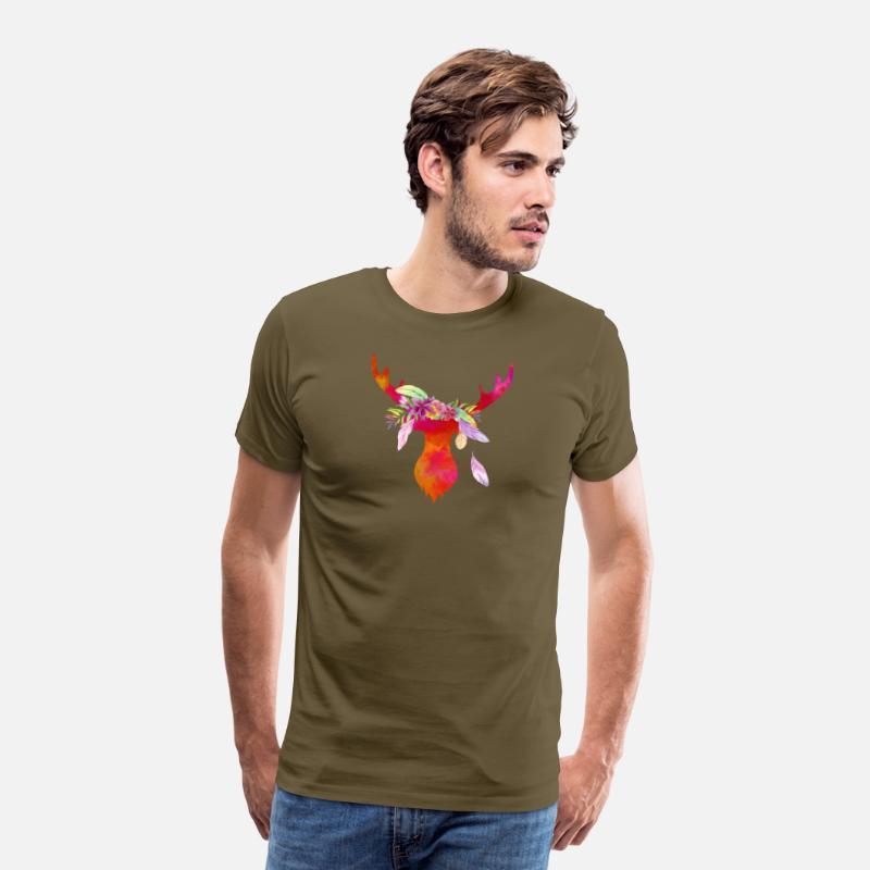 Premium Shirt Kaki De Boho T Bois Homme Chic En Cerf 6yfb7gY